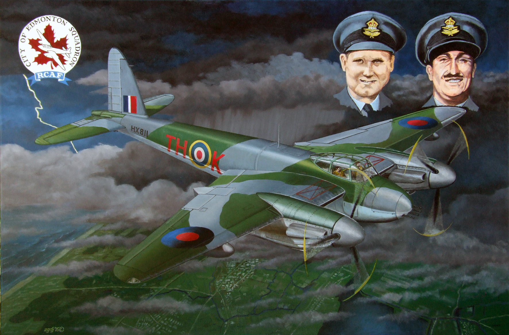 """Painting by  Bram de Jong  featuring their Mosquito over Holland; Canadian """"Big Bob"""" on left and the Englishman Herbert on right."""