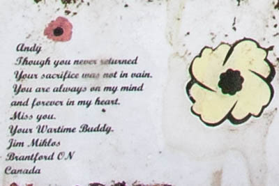 Note from a wartime friend at grave of  Andy J.J. McNally