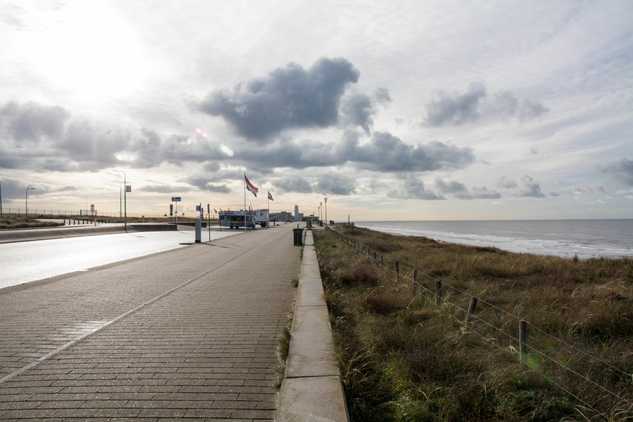 Bicycle pathway and Zandvoort in the distance