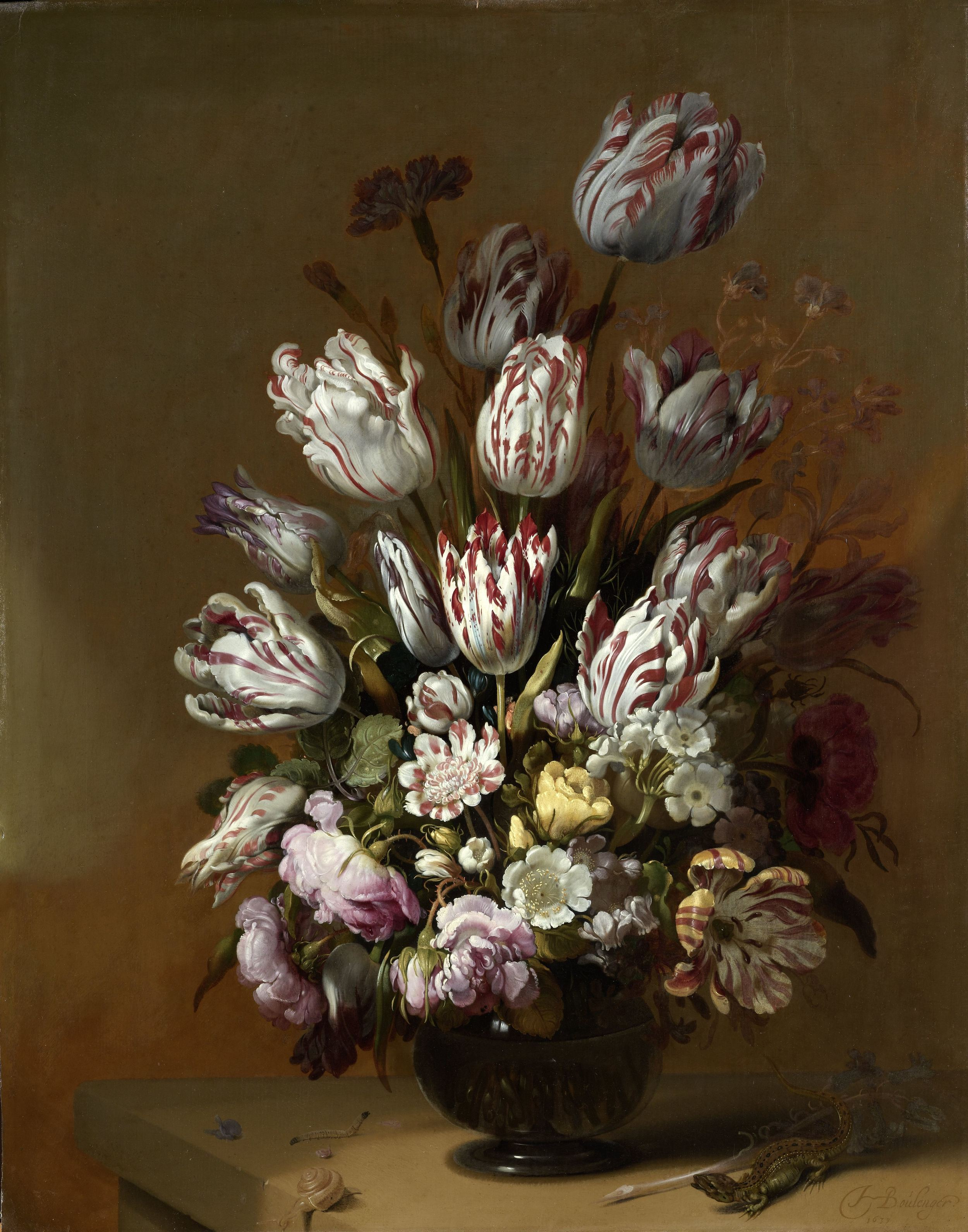 Floral Still Life , Hans Boulenger (1639), Rijksmuseum, was painted shortly after the crash of the tulip market.
