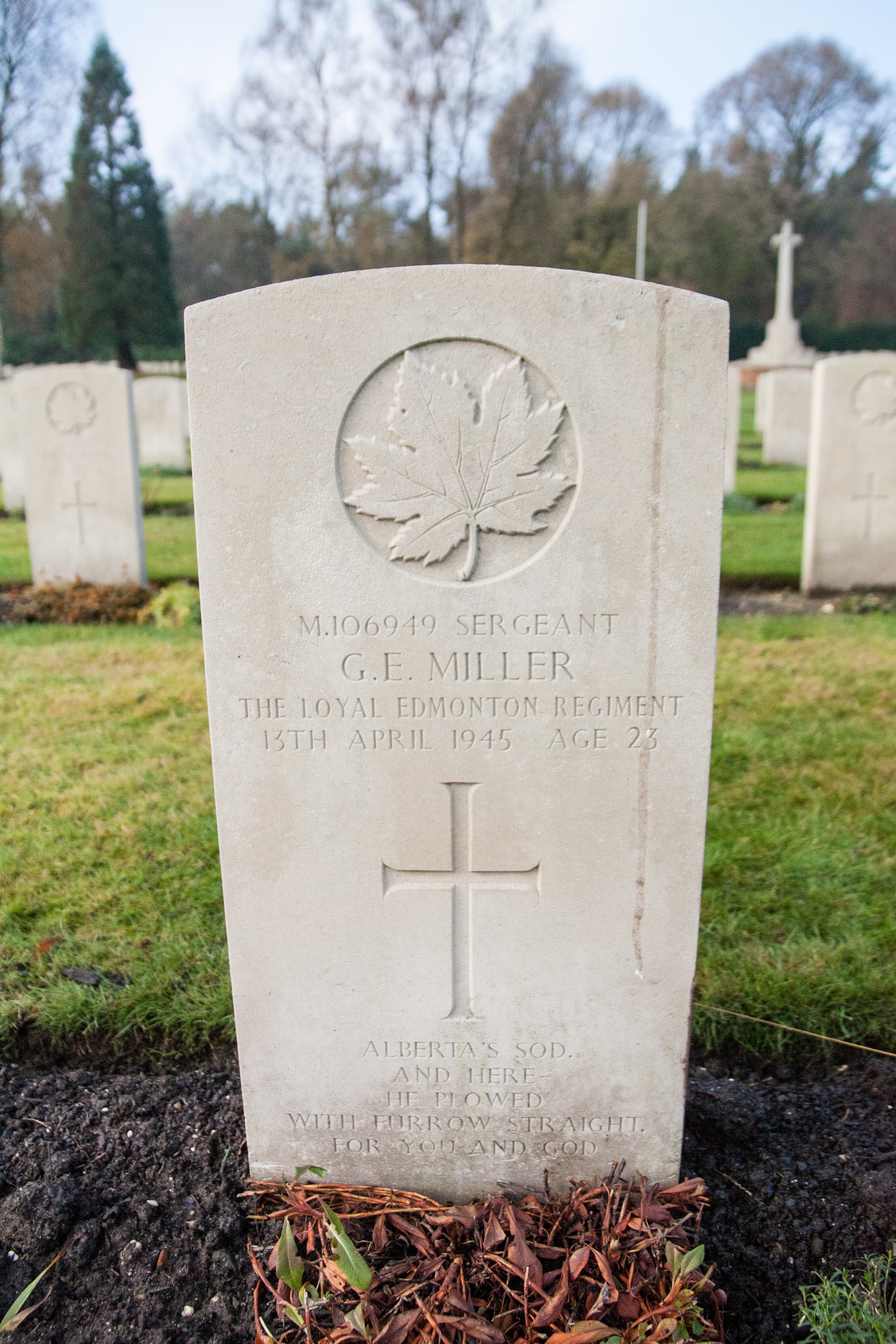 Being an Edmontontian and Albertan, I am always drawn to graves such as Sgt. Miller's, and seeing from my perspective how far from home and family they were when fighting for the freedom of the Dutch people.