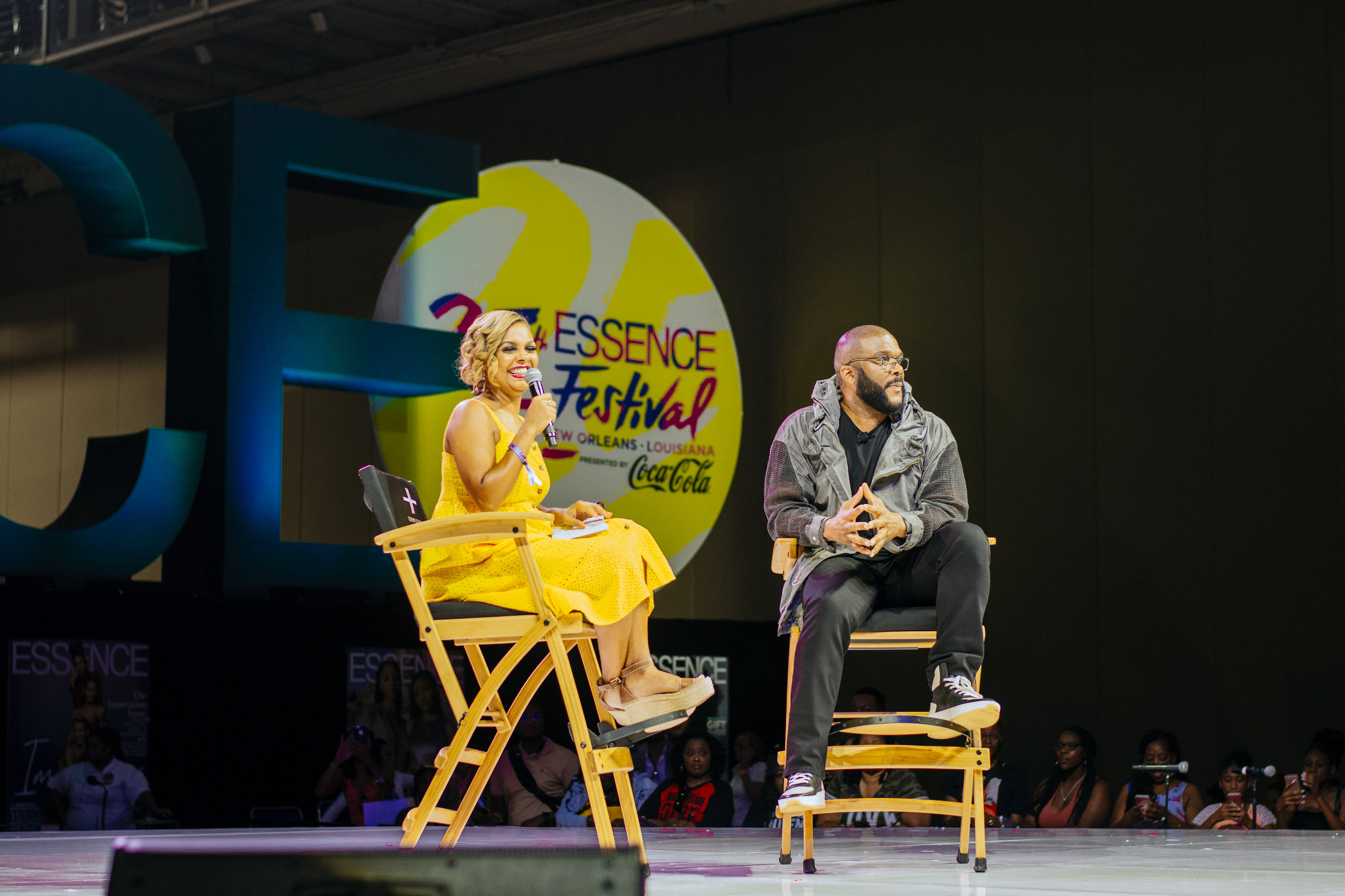 Tyler Perry being interviewed at Essence Fest 25.