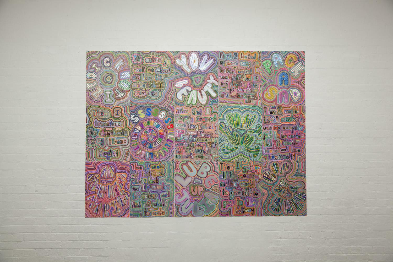 OMNOMNOMNOM (2013) Acrylic paint pen, photo and holographic film on paper, 2.5 x 3 m
