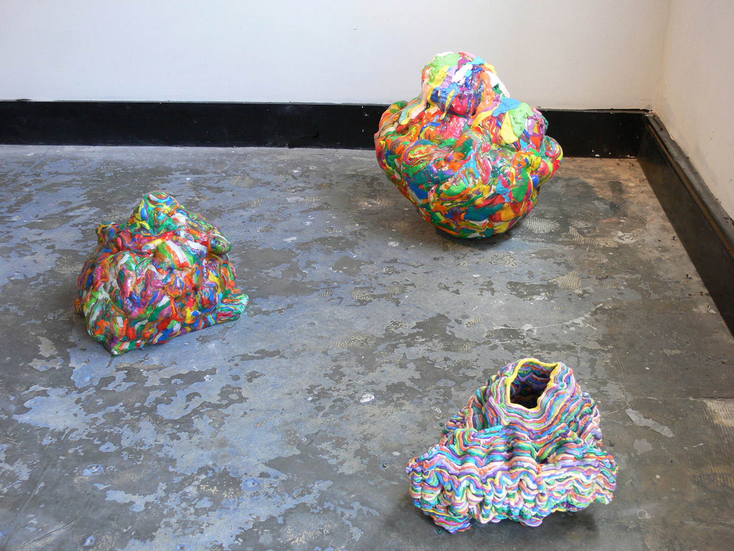 Aura Rock 1-3 (2012) (Installation View), polymer clay, expandable foam, wood, puff paint and varnish