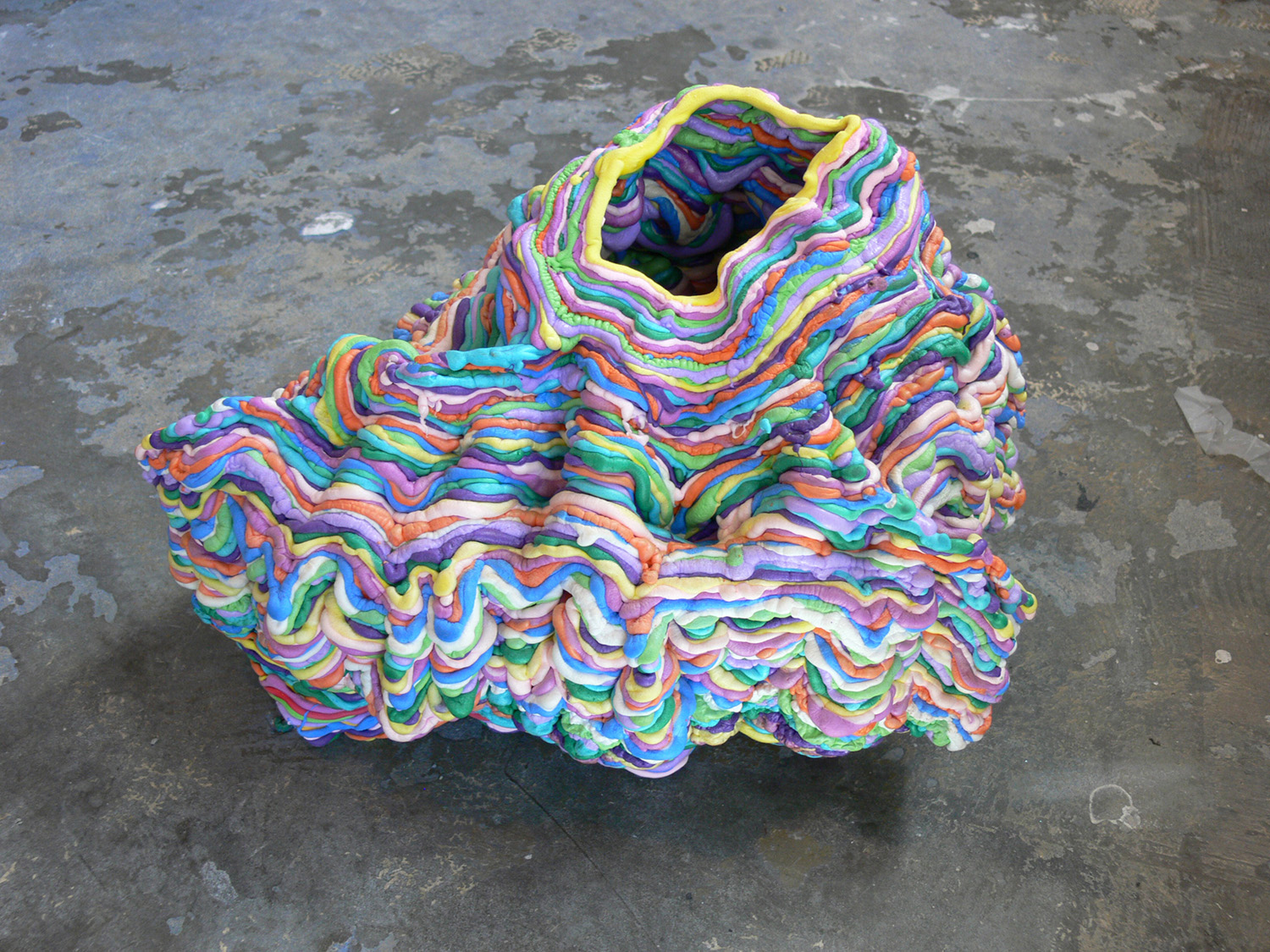 Aura Rock 3 (2012) (Installation View) puff paint, 12 x 8 x 6 inches