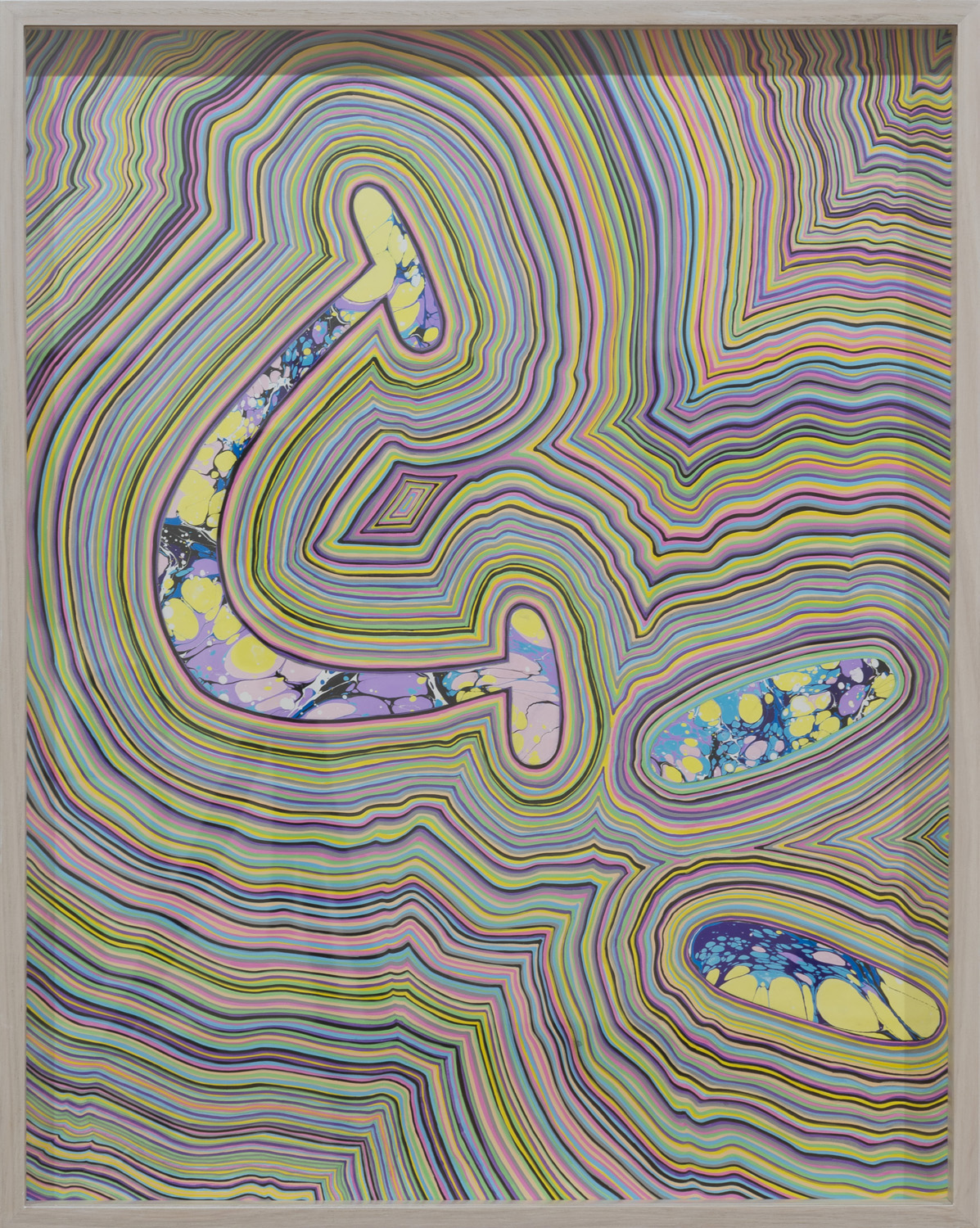 TGIF 3 (2016) marbled paper and acrylic paint pen on paper, 24 x 18 inches