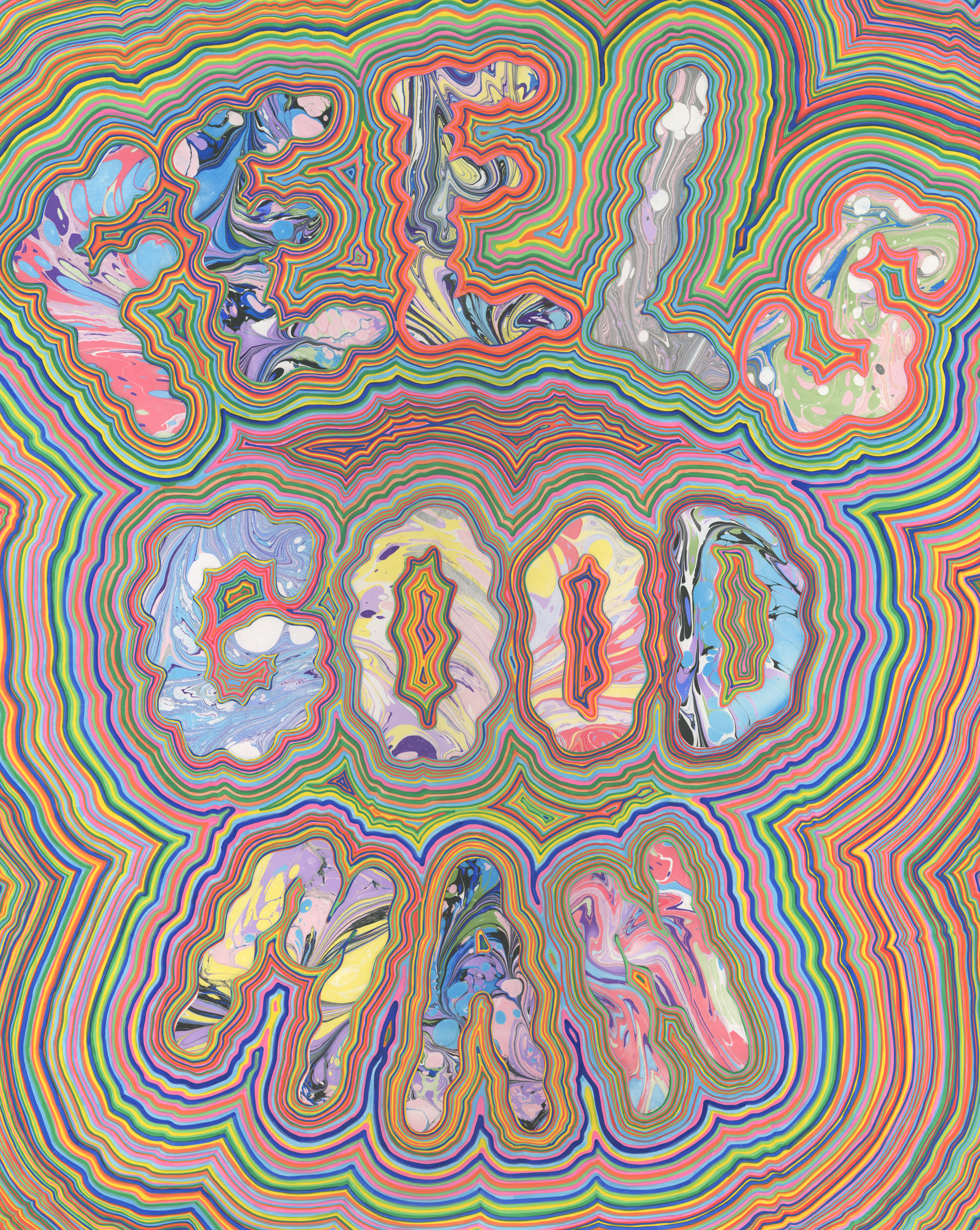 Feels Good Man - Feels Bad Man (diptych) (2017), marbled paper and acrylic paint pen on paper, 19 x 24 inches