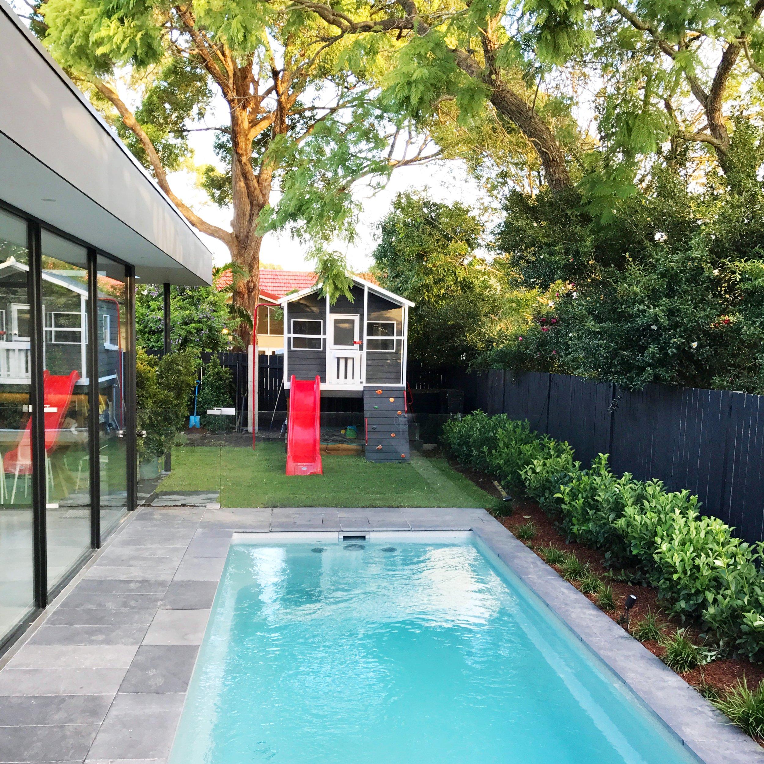 Back garden - Pool and Cubby House.JPG