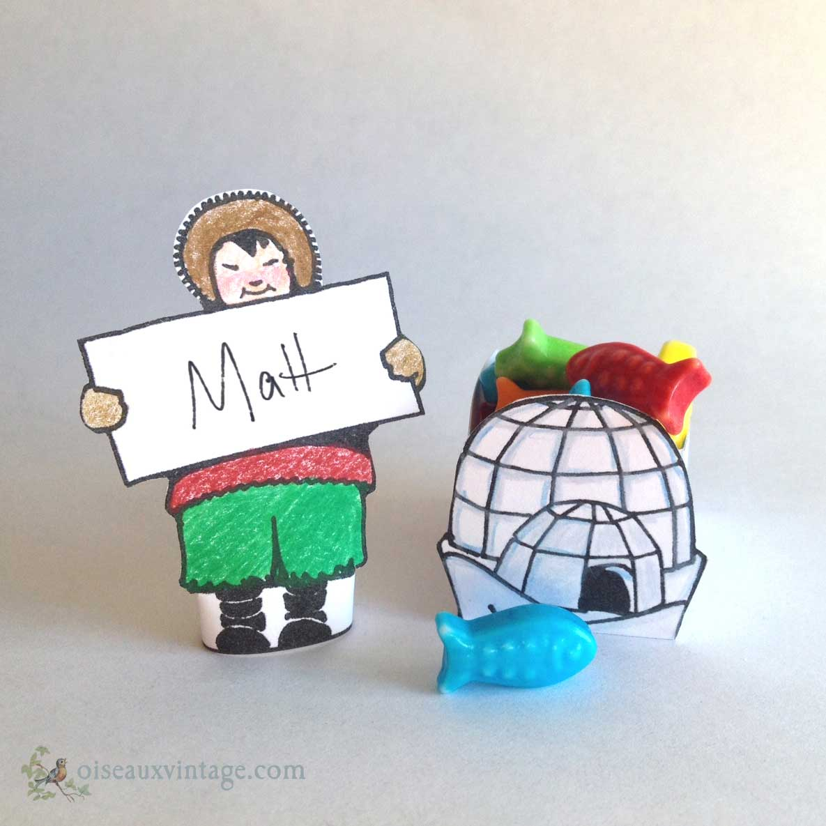 Iceland boy place card and igloo candy cup