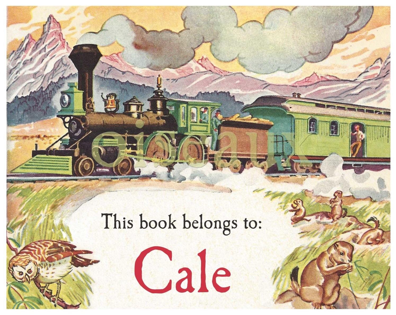 Vintage Train bookplates
