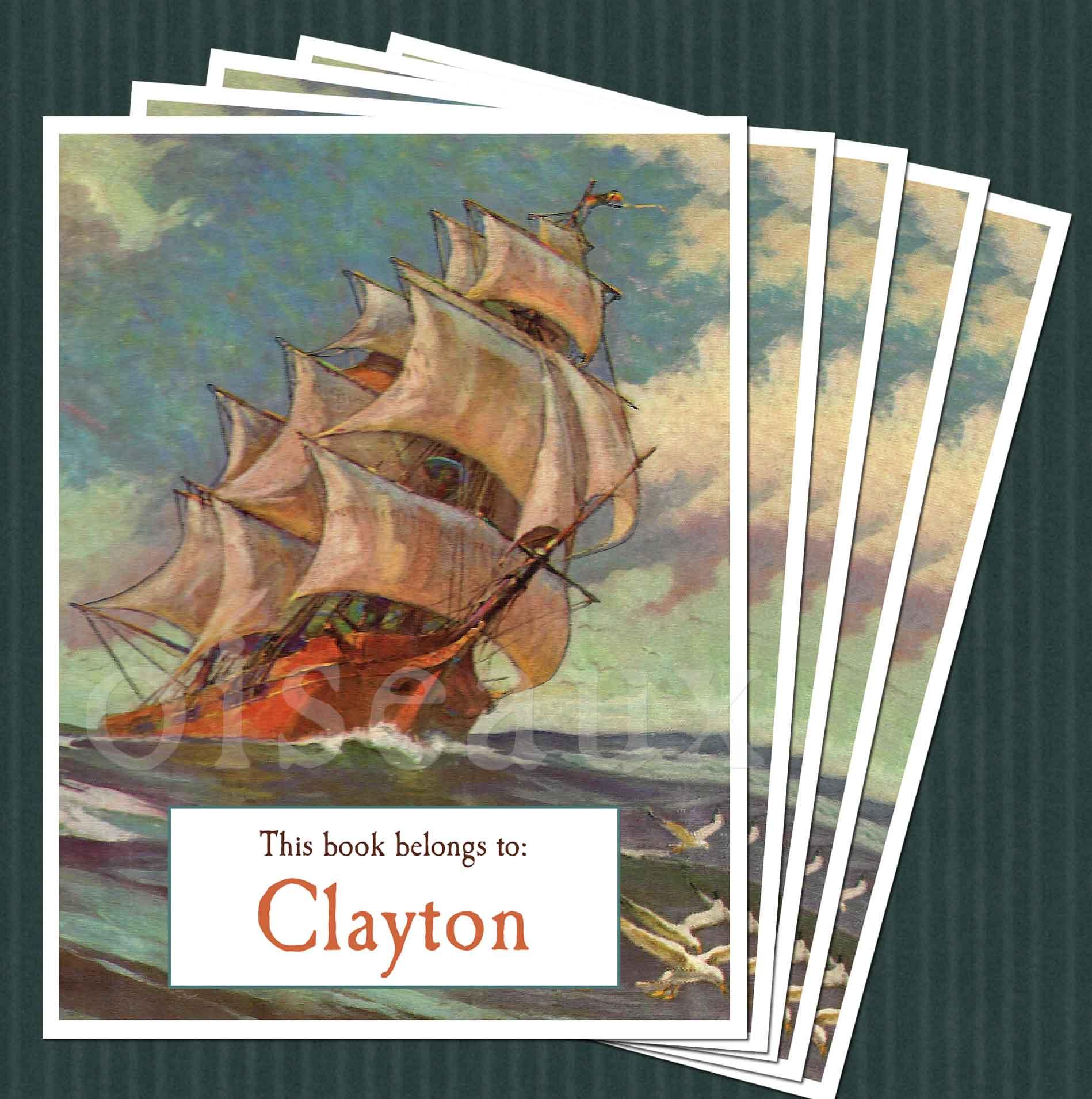 Ship At Sea Bookplates