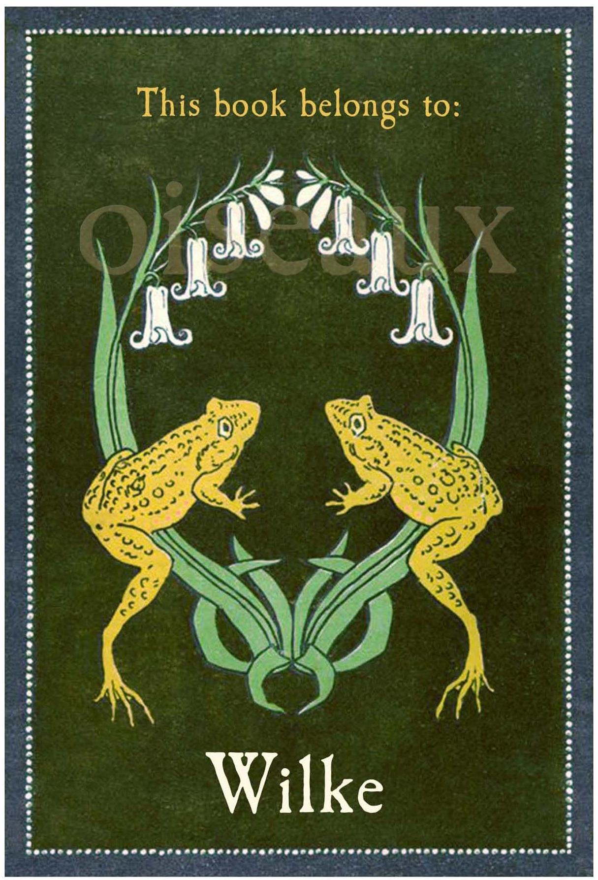 Vintage Frog Crest Bookplates
