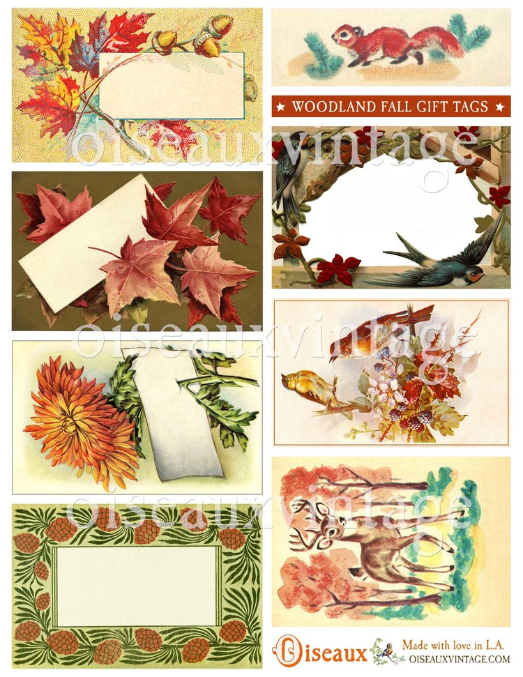 Woodland Fall Gift Tag Set Print Your Own Vintage Loveliness
