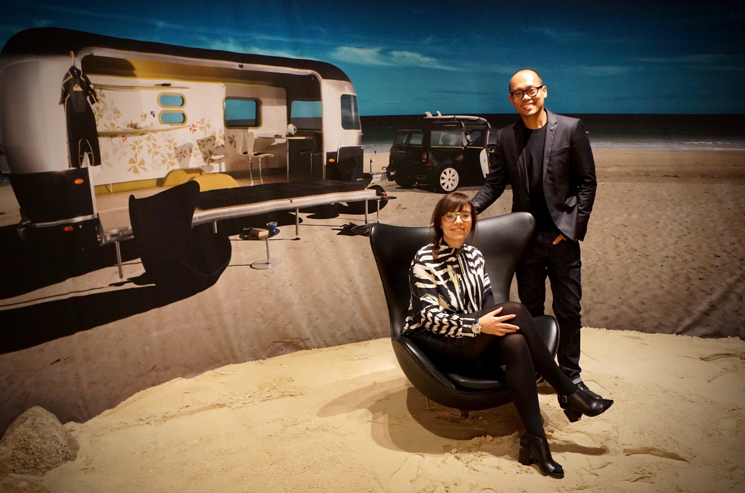 'Instant Icon' curator, Rosita Satell and Abner Aquino of CURATE featuring The Egg chair by Arne Jacobsen