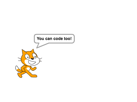 The first thing you'll see in scratch is the scratch cat