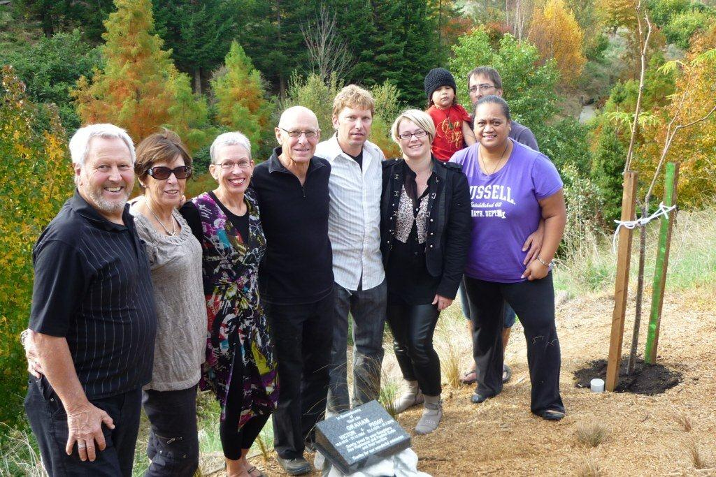 Graham family gathered for the memorial unveiling