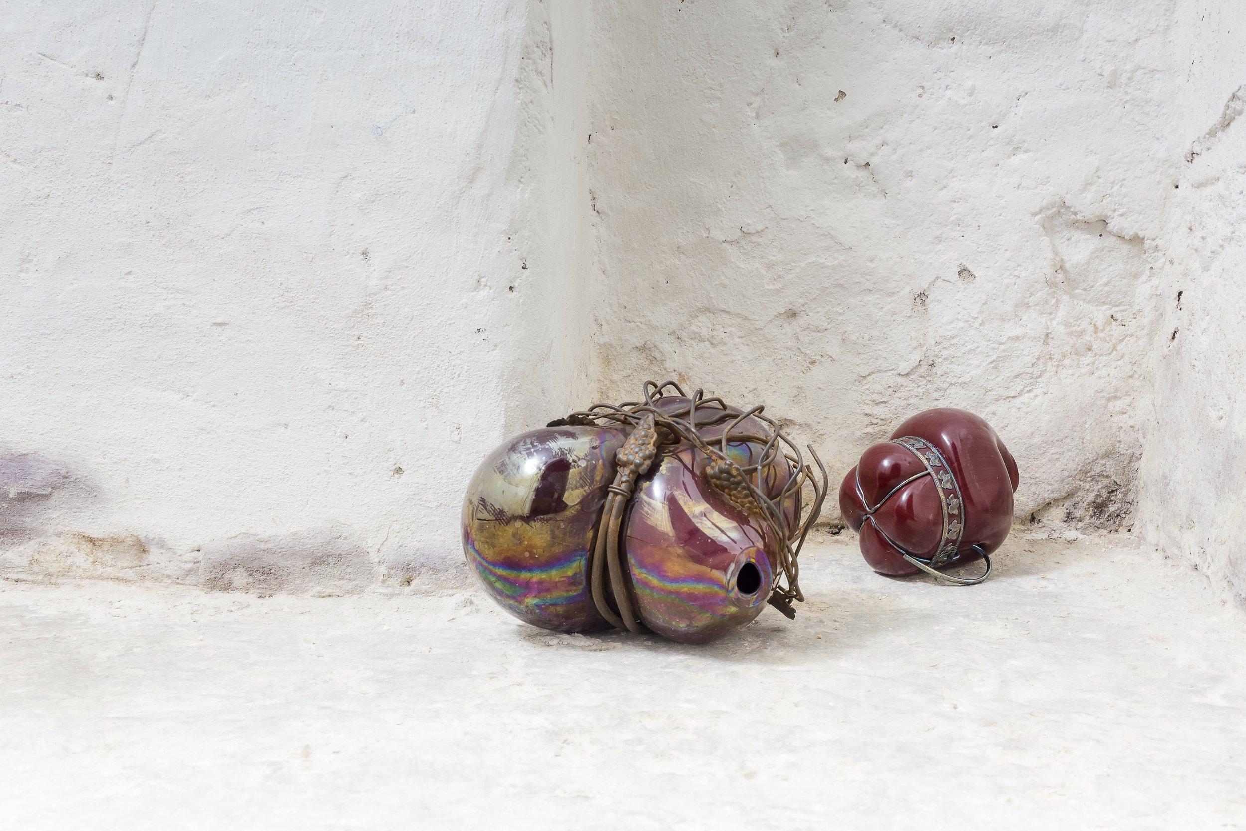 Soffio#2, #3 , 2013, vetro soffiato e metallo, cm 18x17x25/14x13x12