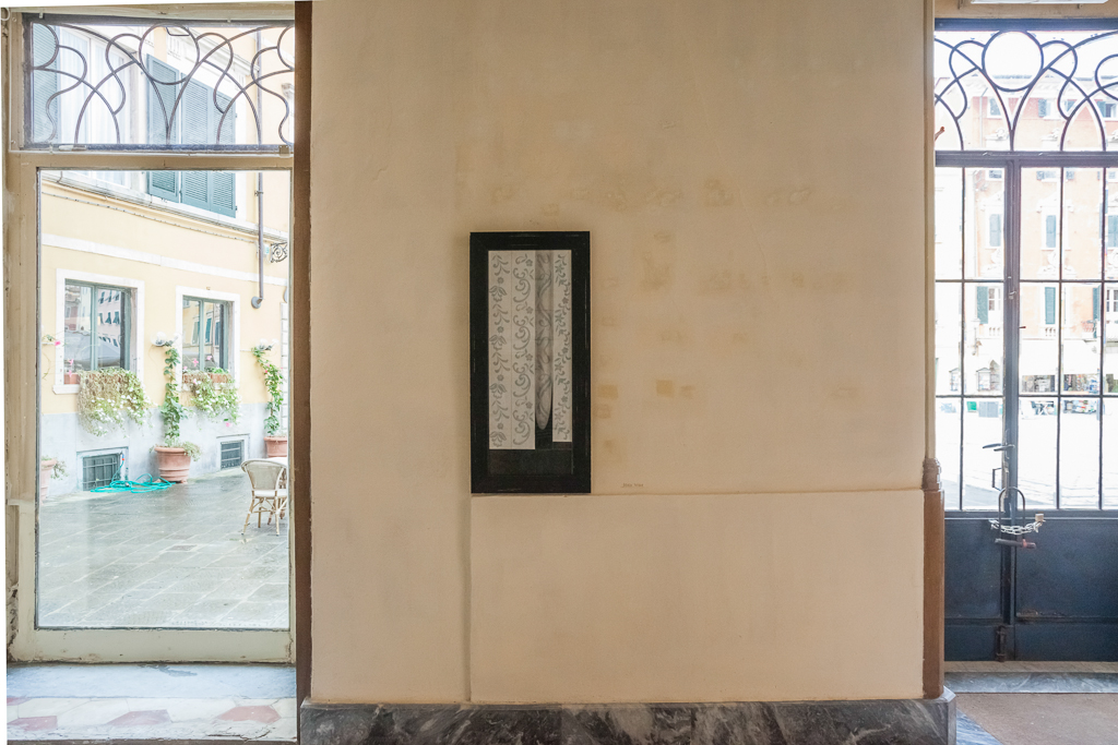 Senza terra#23  2013 - Carboncino su pattern da ricamo, cornice - cm100x46x2