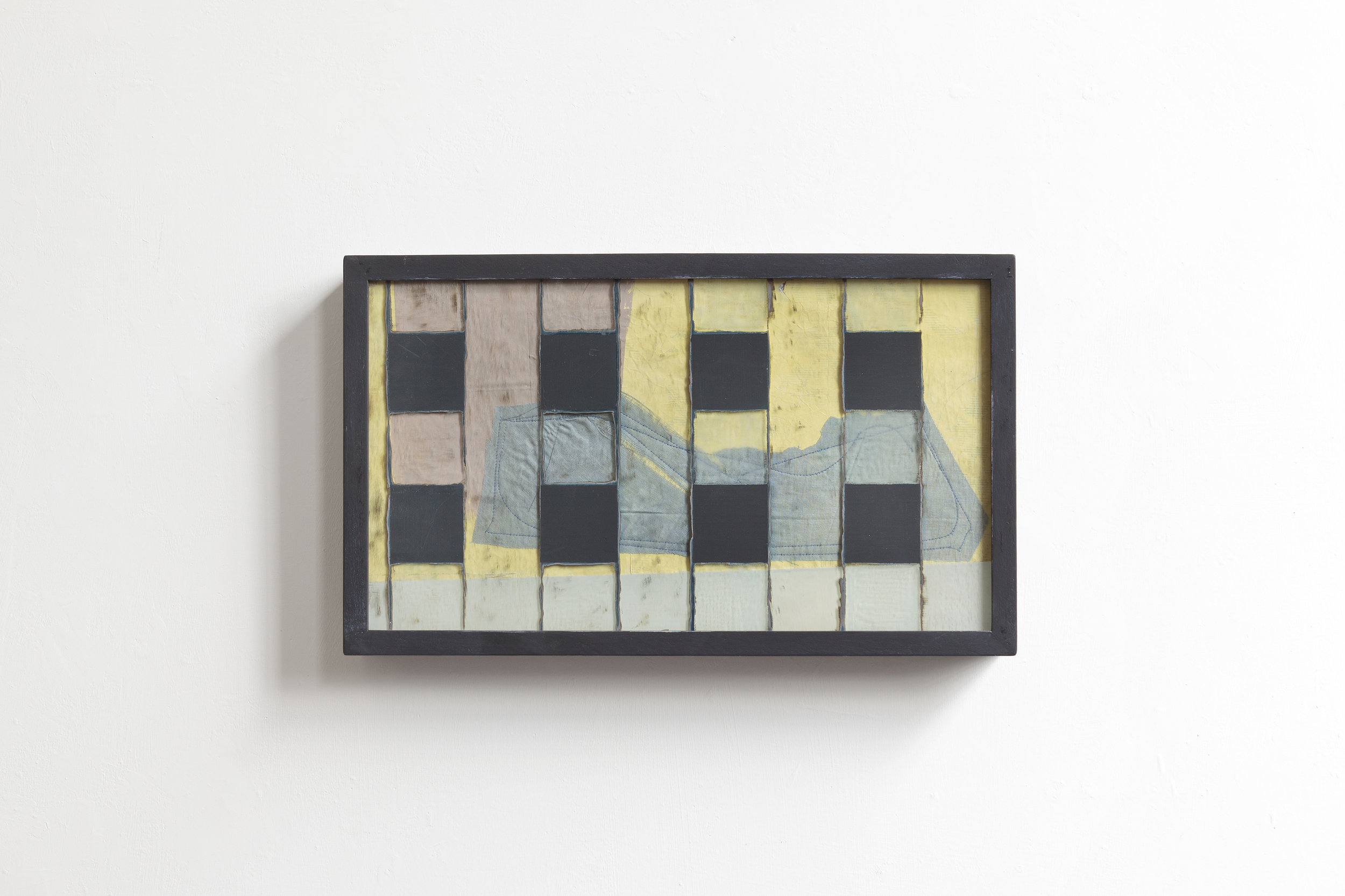 Outside  2017 - erased mirror, painting on wood and fabric - cm 26x44x5
