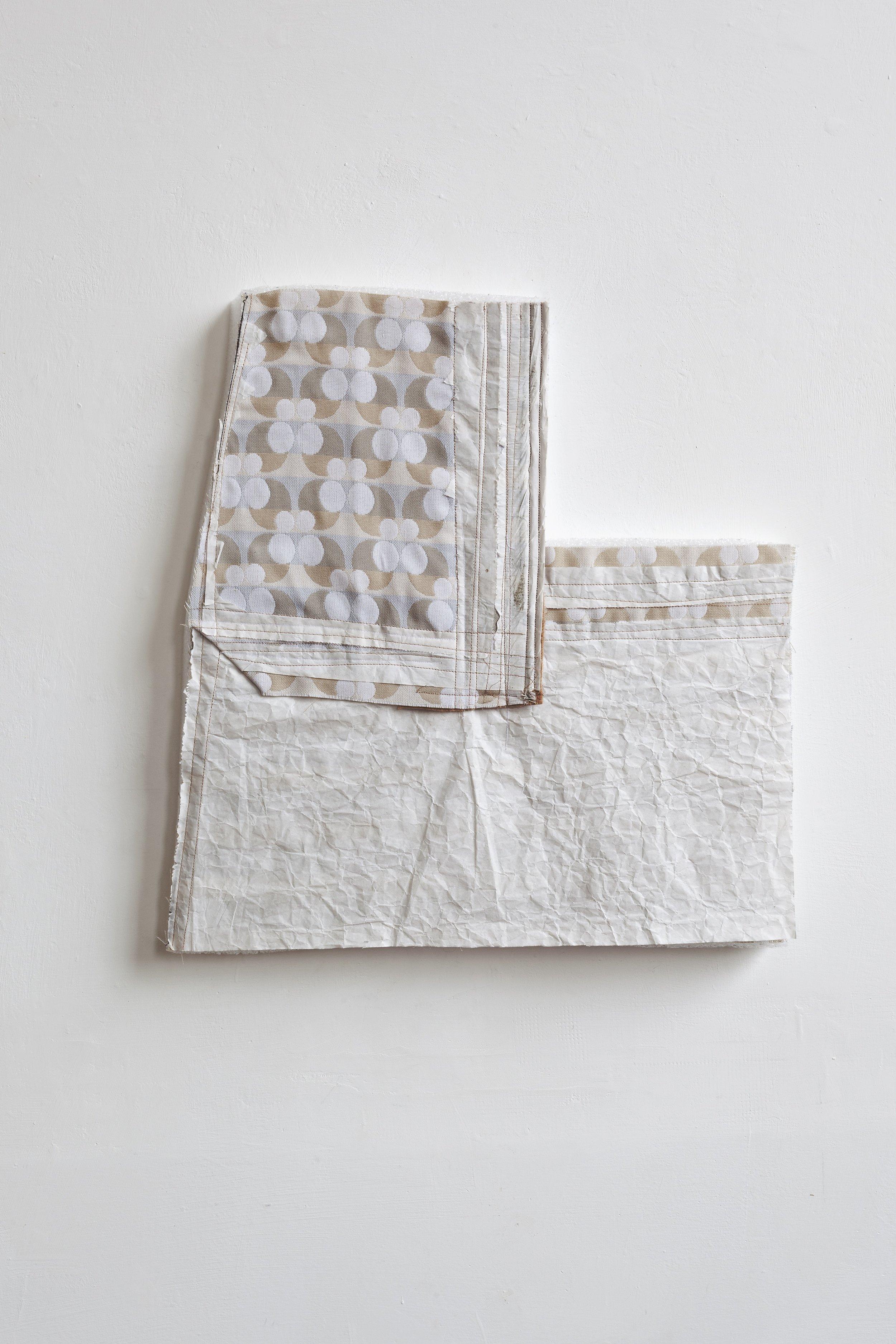 Do, undo, redo - fabric drawing #23 , 2017/19 - tecnica mista su tessuto e gomma spuma - cm 44x42x4