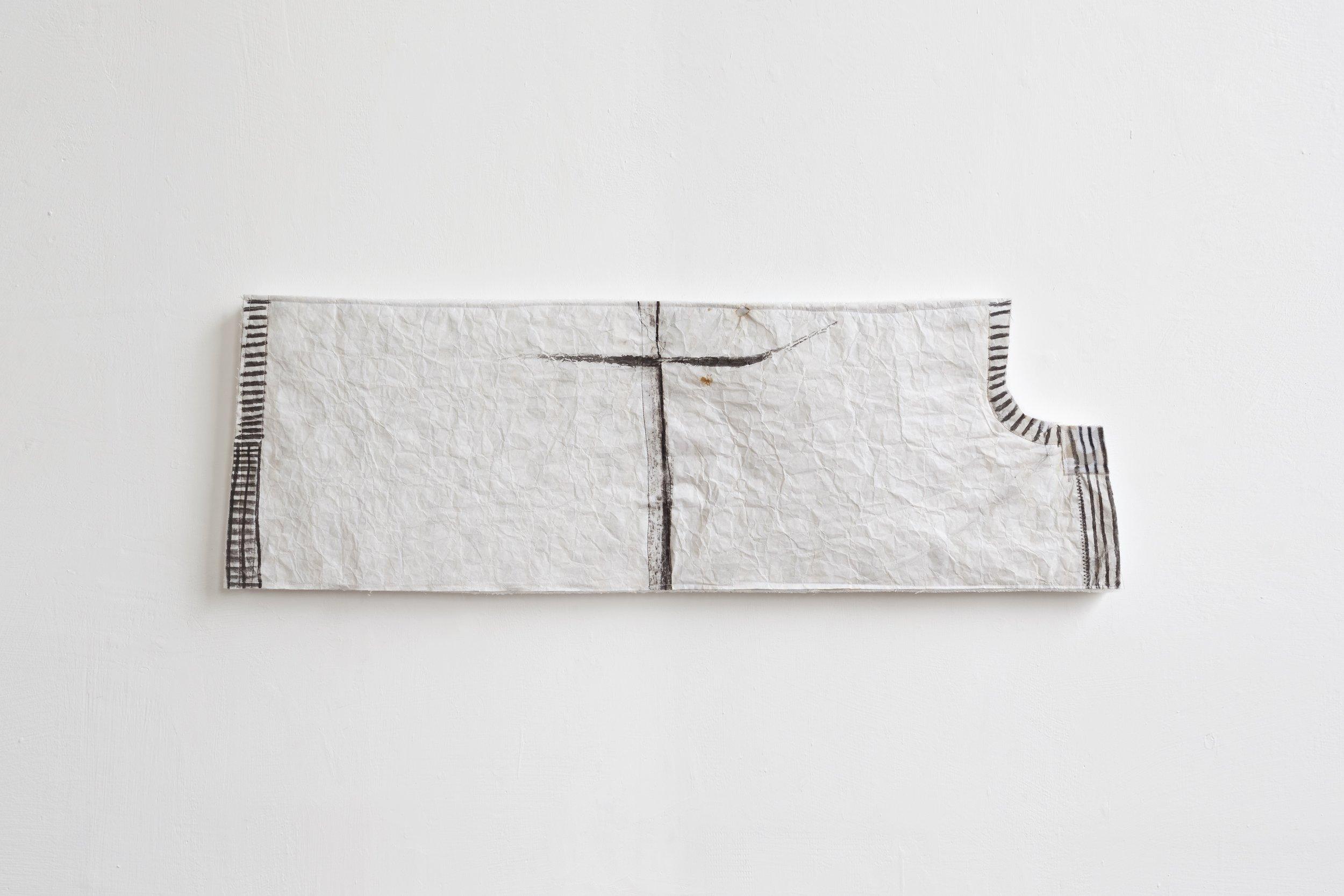 Do, undo, redo - fabric drawing #24 , 2017/19 - tecnica mista su tessuto e gomma spuma - cm 30x92x4