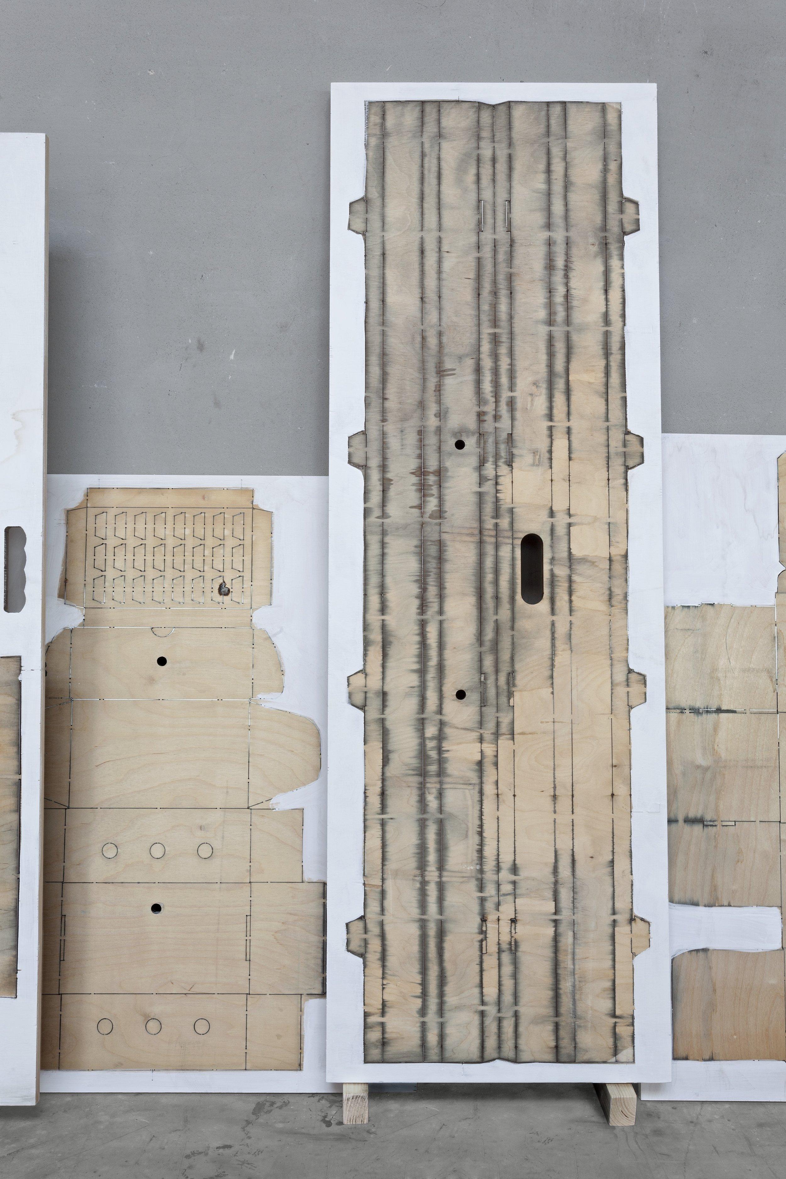 La Torre #32  2019 - acrilico su fustella in multistrato di legno  cm 125x40x3