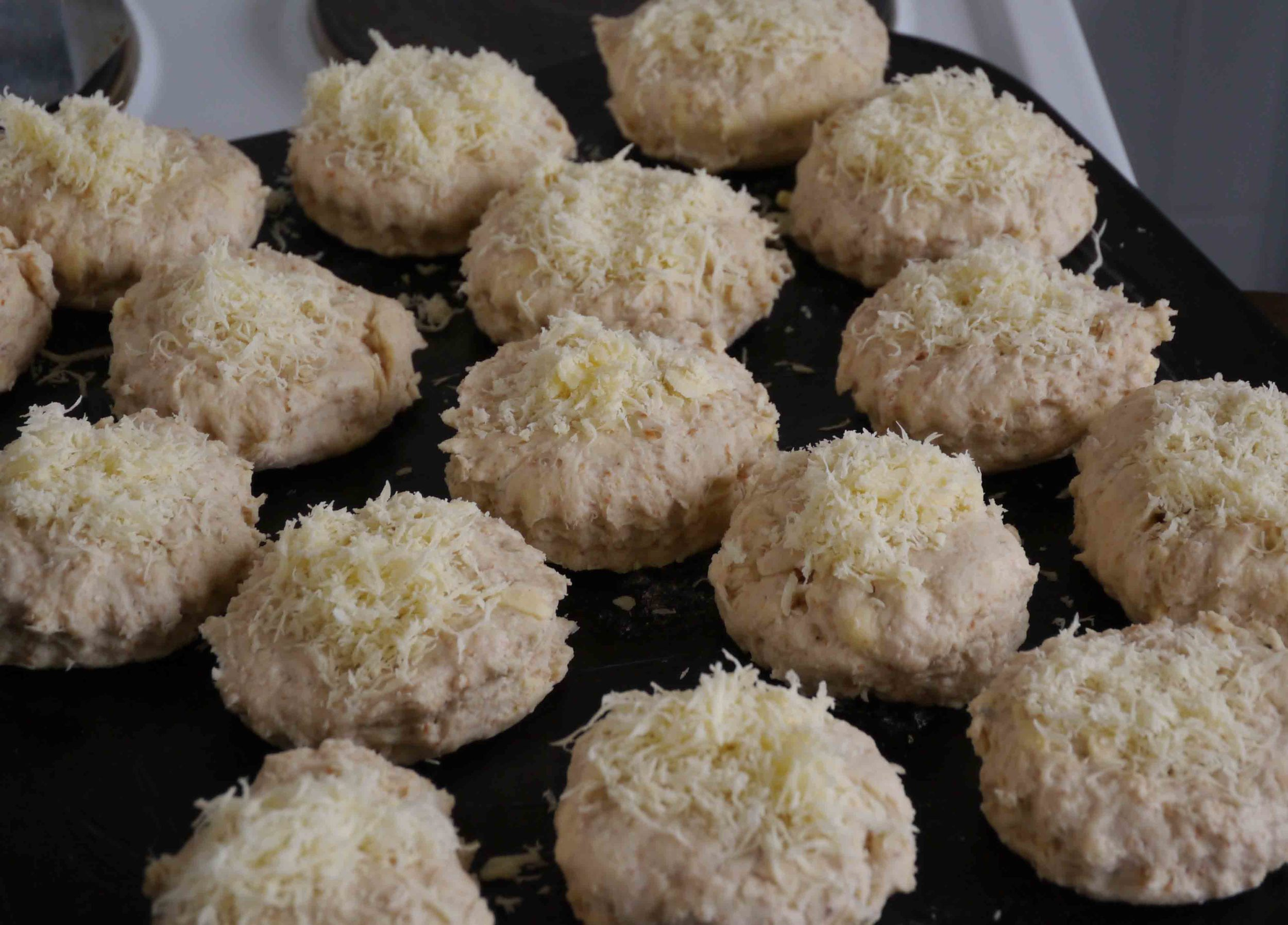 sourdough cheese scones ready to bake