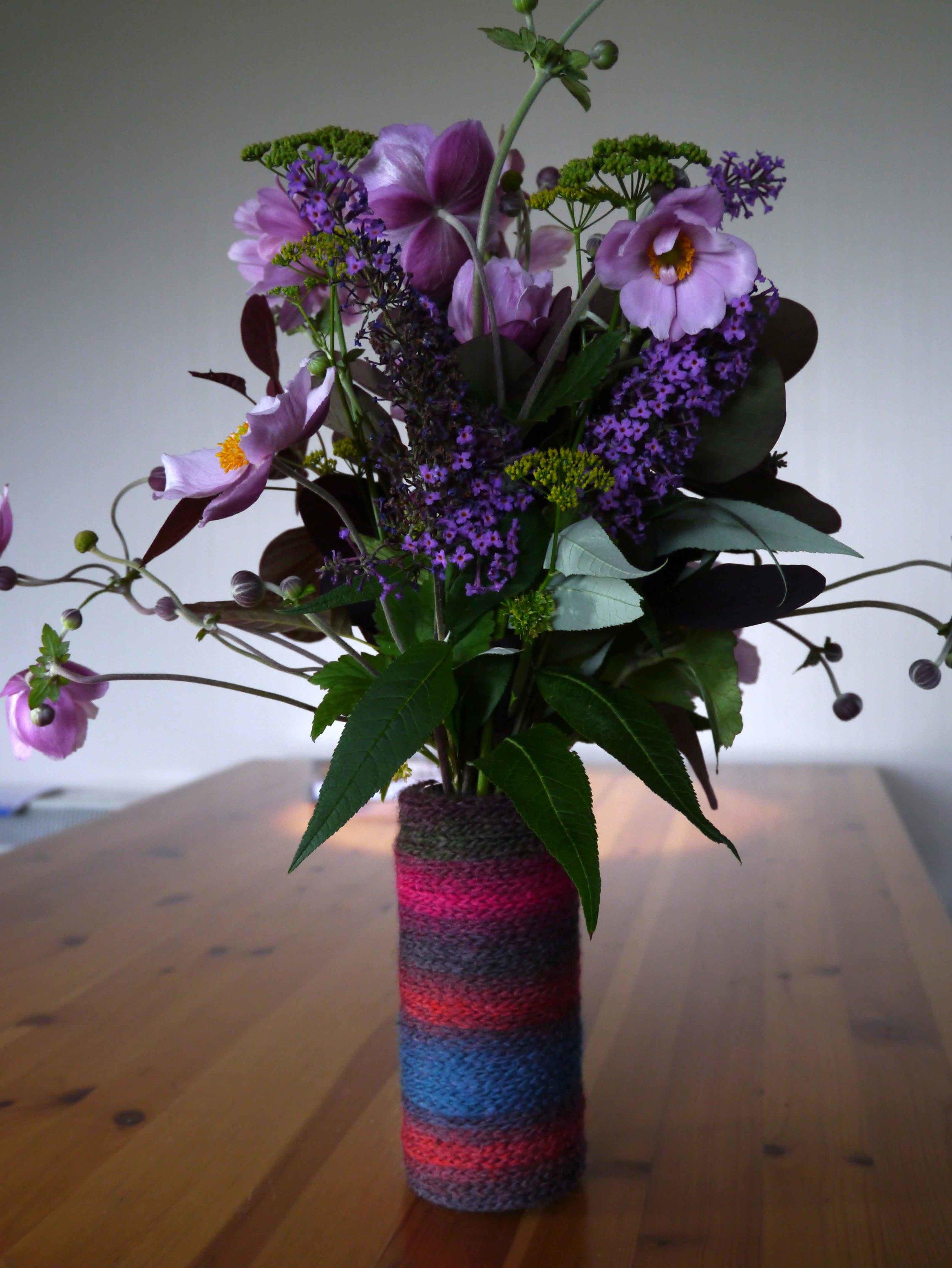 i-cord vase cover for a jam jar