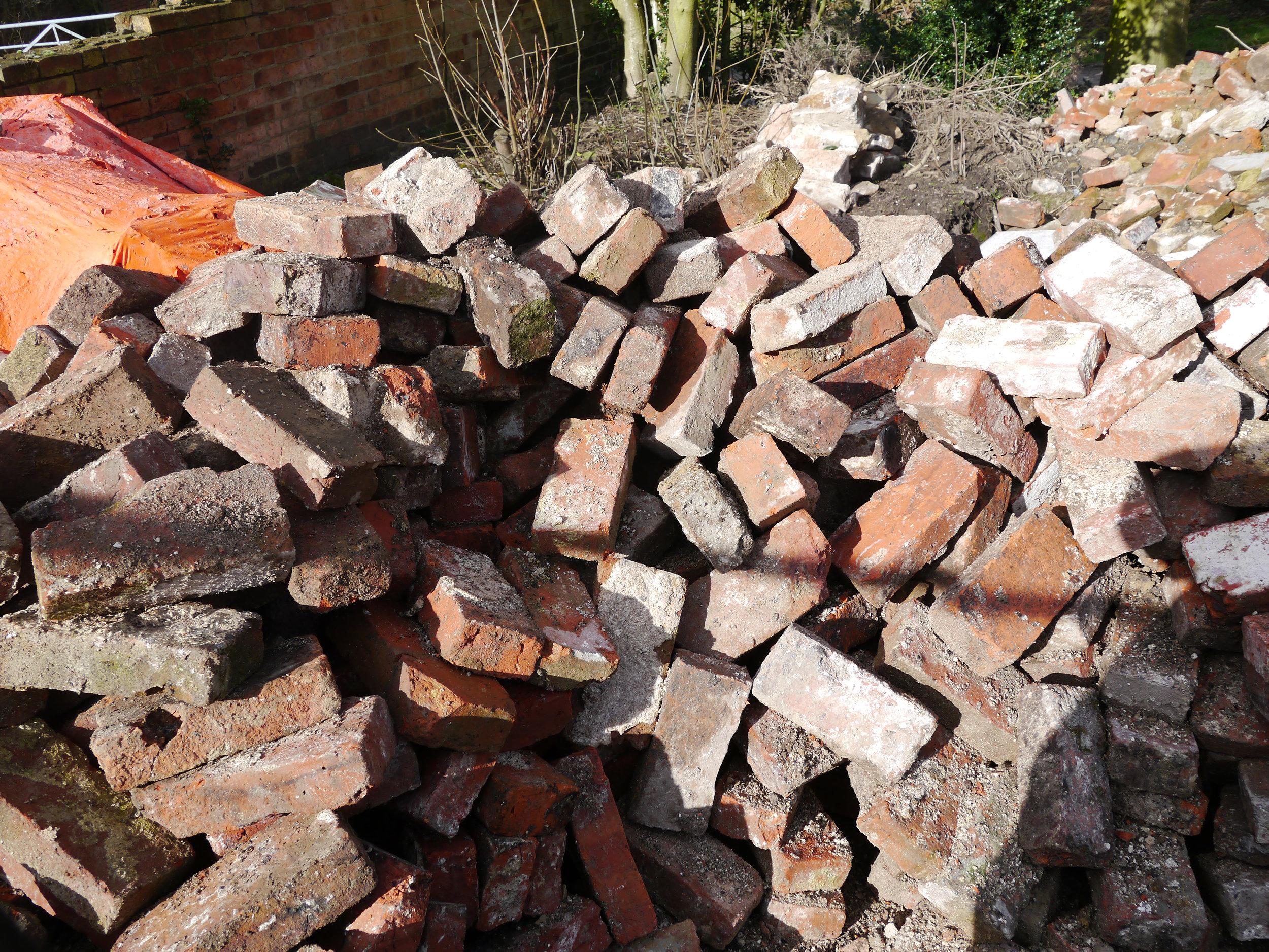 Bricks ready to clean