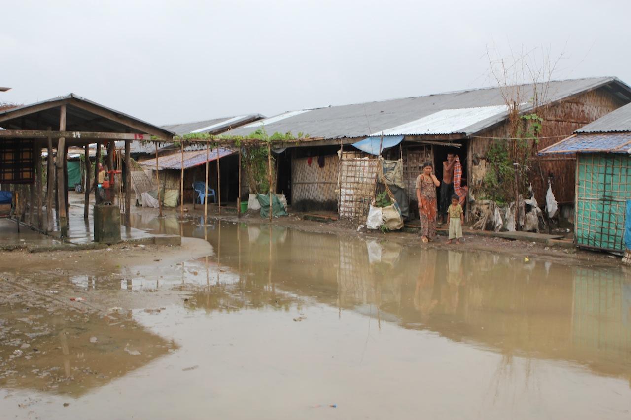 Flooded houses in Rakhine State