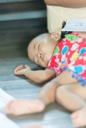 Young child receiving treatment