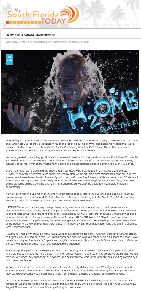 LINK TO ARTICLE:   http://www.mysouthfloridatoday.com/h2ombre-a-visual-masterpiece/