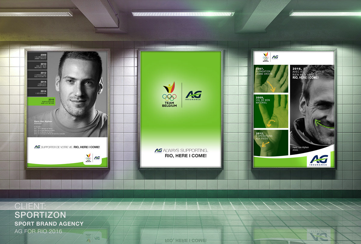 Campagne d'affichage / mise en avant des athlètes belges à Rio  Client:  AG insurance  / Agence:  SPORTIZON