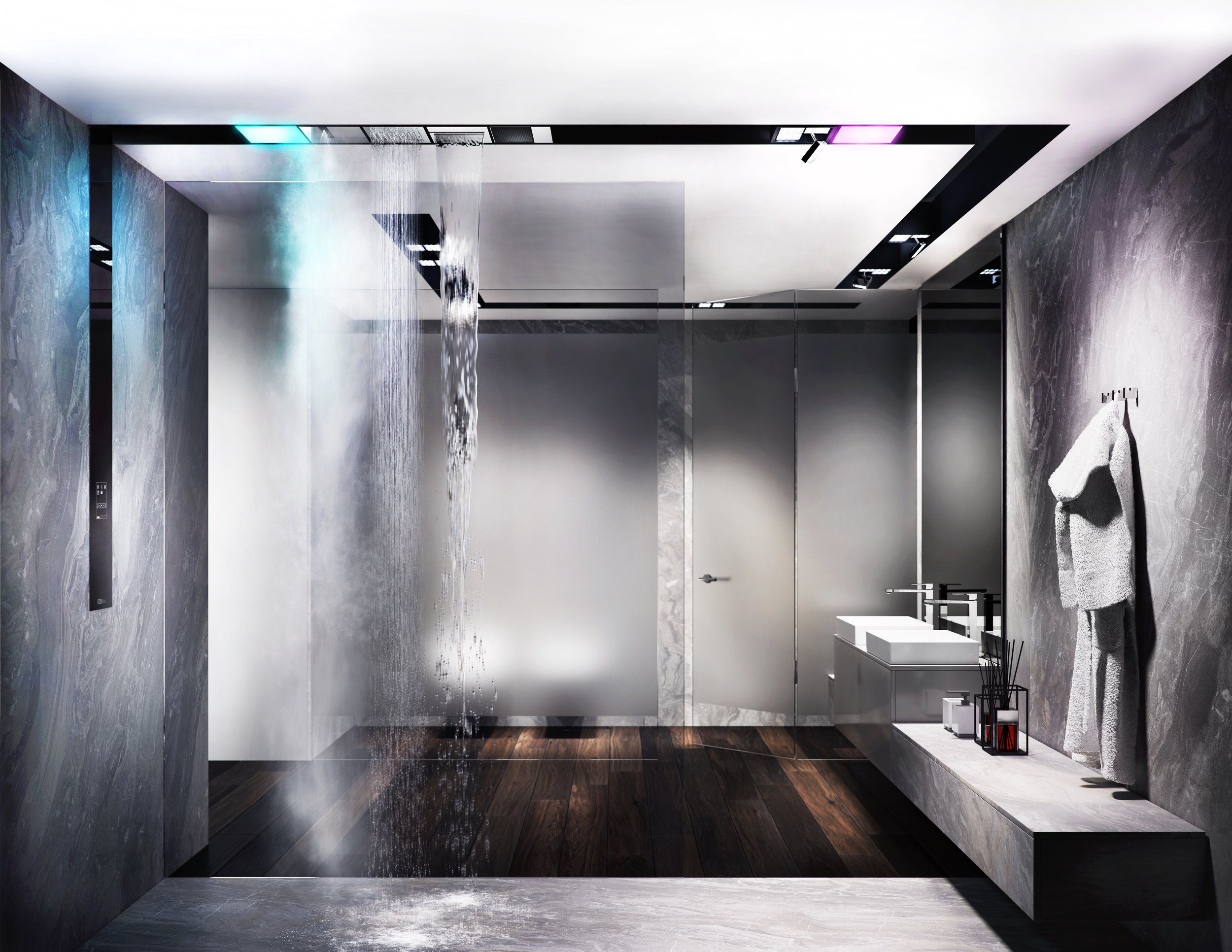 "The  Gessi Architectural Wellness project  is a new concept in design that makes the functions of ""wellness of the five senses"" modular and customisable, with significant technical advantages.  Binario , the system that inaugurates the new project, envisages the overhead installation of wall mounted tracks, similar to those used in the lighting sector."