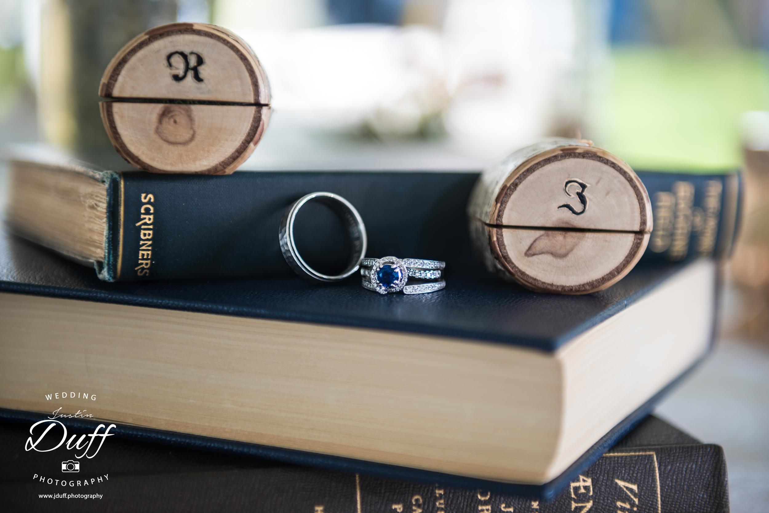 Stoney Creek Metropark – A Vintage Wedding - wedding rings on books custom boxes