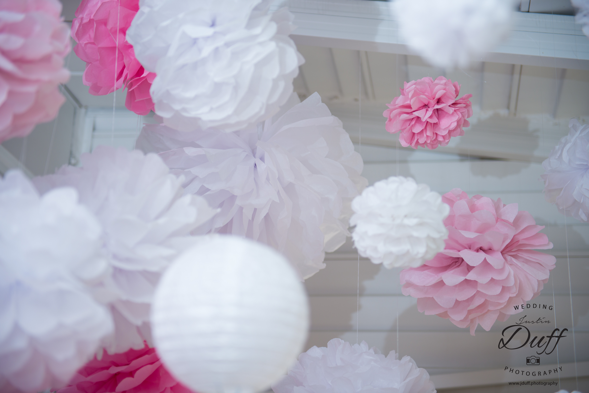 Firefighter Park Wedding - Troy MI wedding photographer Hand Made decorations paper puff balls.
