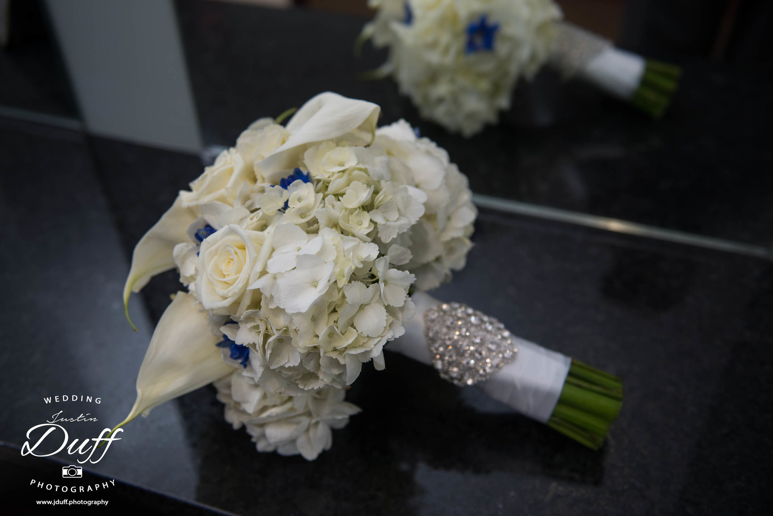 Fountains Golf Course Wedding - Royal Oak Photographer – Deanna & Shane bouquet reflecting in a mirror