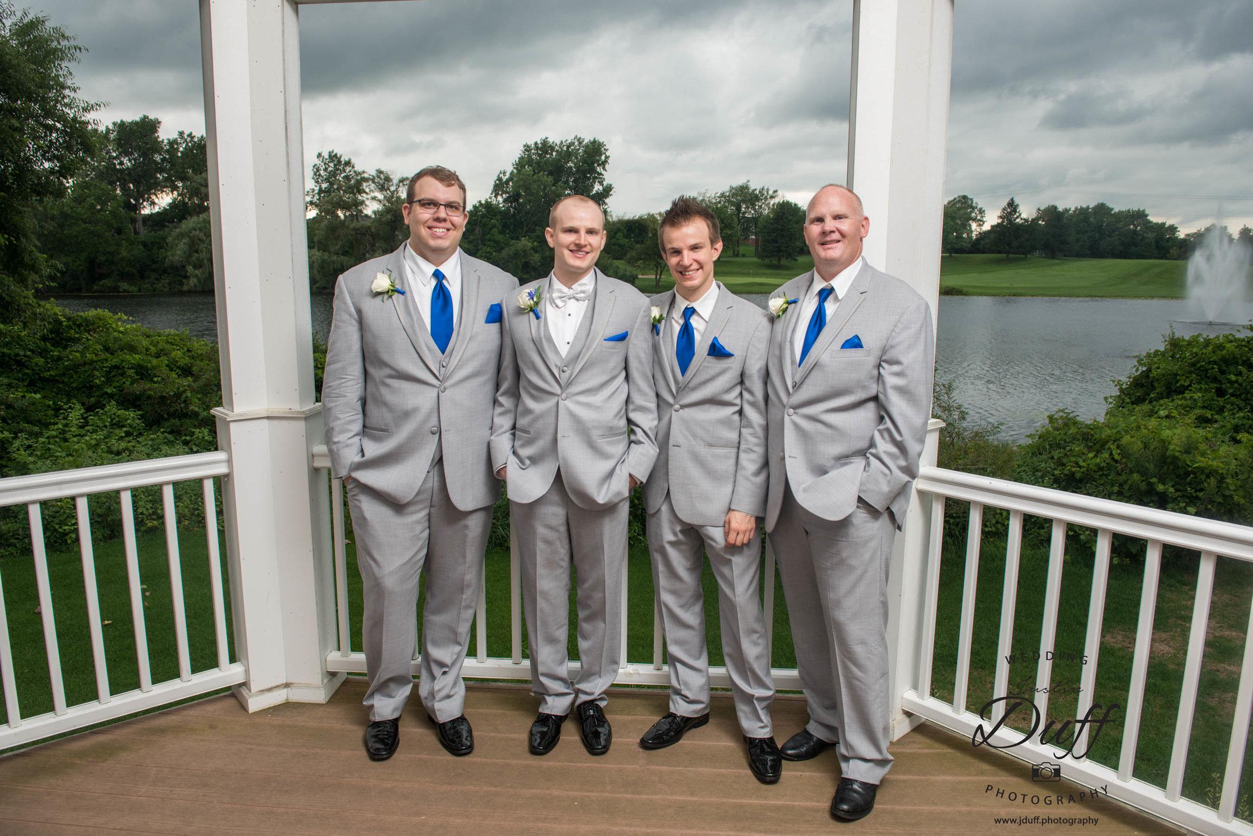 Fountains Golf Course Wedding - Royal Oak Photographer – Deanna & Shane Groom and groomsmen in a gazebo