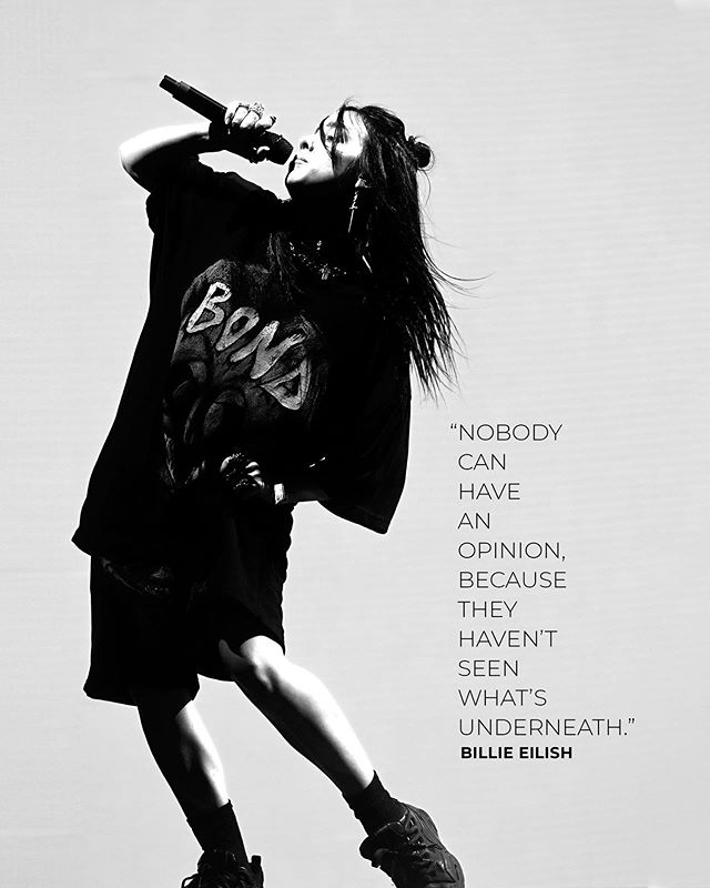 """In a recently released @calvinklein commercial, 17-year-old singer Billie Eilish (@wherearetheevocados) revealed why she wears baggy clothes. """"Nobody can be like, 'She's slim-thick', 'She's not slim-thick', 'She's got a flat ass', 'She got a fat ass'. Nobody can say any of that, because they don't know."""" (Frazer Harrison / Getty for Coachella)"""