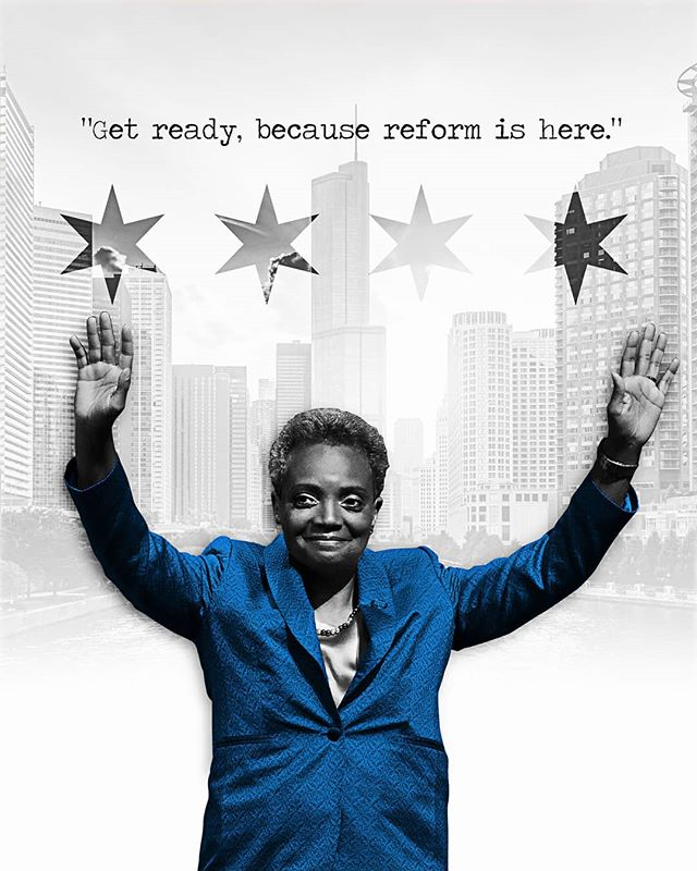 "@lightfootforchi was sworn in as Chicago's 56th mayor Monday during a ceremony that noted her historic firsts: that she is the city's first black female leader as well as its first openly gay one. ""For years they said, 'Chicago ain't ready for reform.' Well, get ready, because reform is here,"" Lightfoot, who ran as a first-time candidate with few ties to the city's entrenched political structure, said to cheers inside a packed Wintrust Arena. (photos by Scott Olson / Getty; iStock; illustration by @thelilynews)"