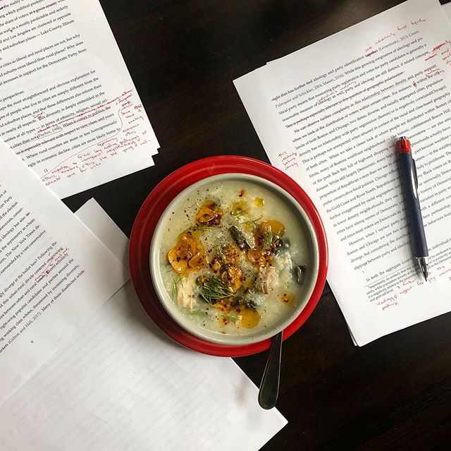 Weekend dissertation edits made tolerable by the best chicken and rice soup from @bonappetitmag