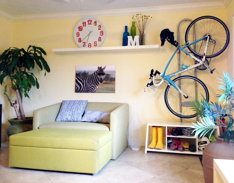Living Room     This also functions as a guest room when I have a visitor since the ottoman stores extra linens and the couch folds out into a bed. Hanging my bike horizontally instead of vertically saves space and the cubbies below keep sports stuff organized. I created the zebra art myself.    The wire vase adds some style without seeming bulky. And you'd probably guess that plant in the lower right corner is fake - but would you guess it's actually a litter box?