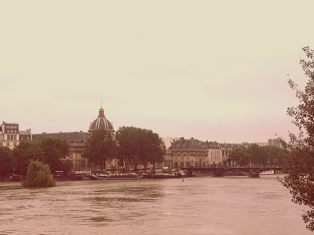 The river Seine was too high for the boats to pass under the bridges.