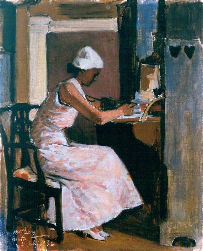 woman writing at a secretaire  (1932) by james mcbey