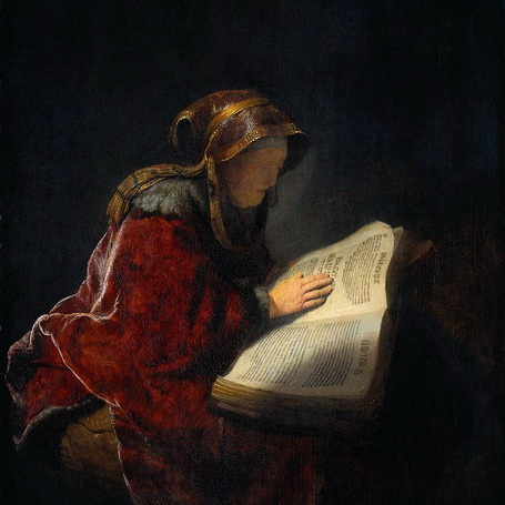 an old woman reading  (1631) by rembrandt