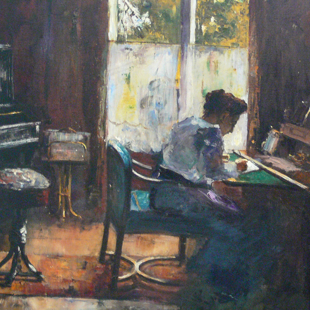 woman at writing desk  (1898) by lesser ury