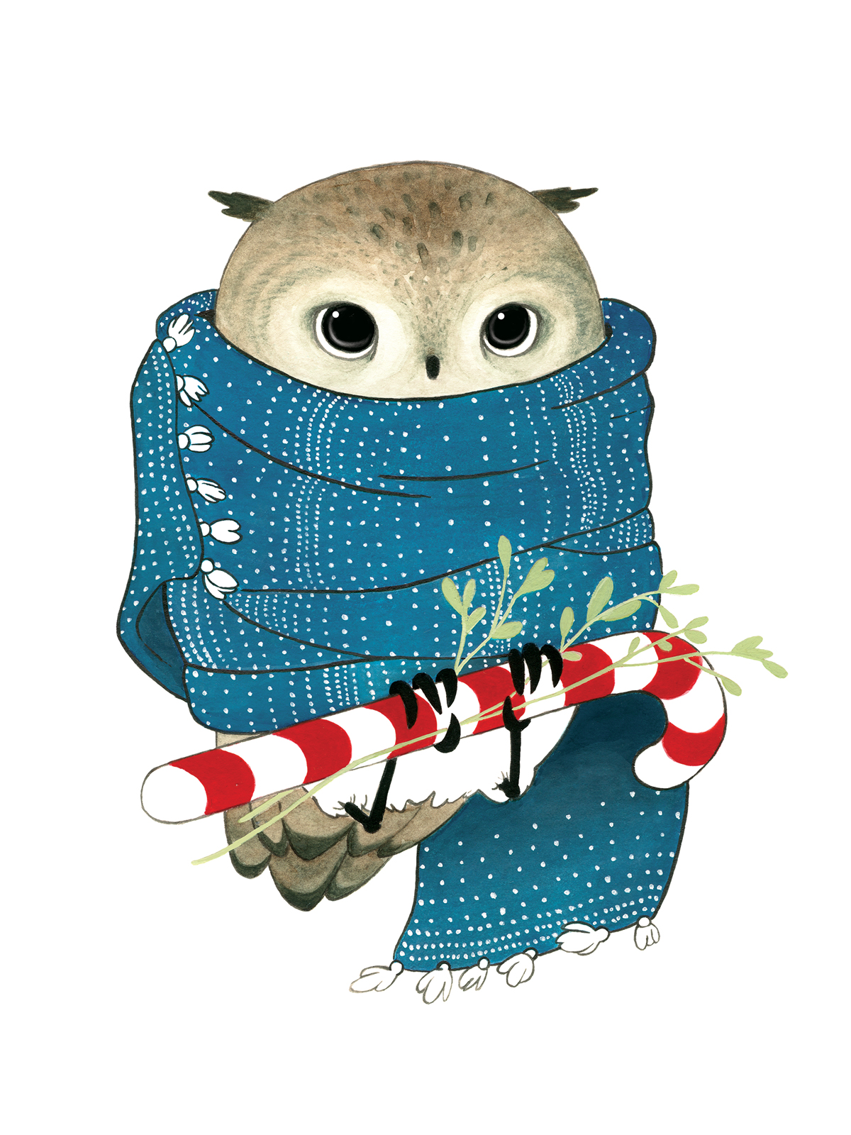 Christmas Owl in a Scarf