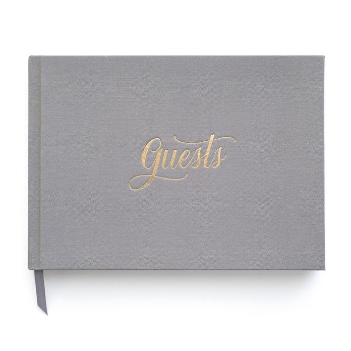 This  Sugar Paper  book is clean and classic and goes with nearly any color palette. Pages you don't use could be filled with memories from guests who come to say in your house!
