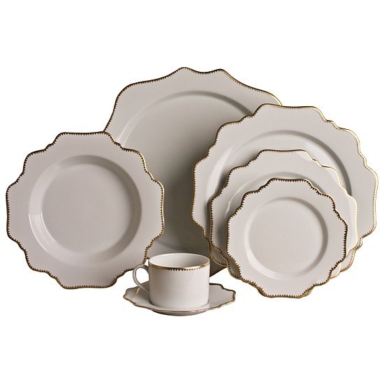 Simply Anna Antique Dinnerware  is a fun shape in a luxe neutral and gold