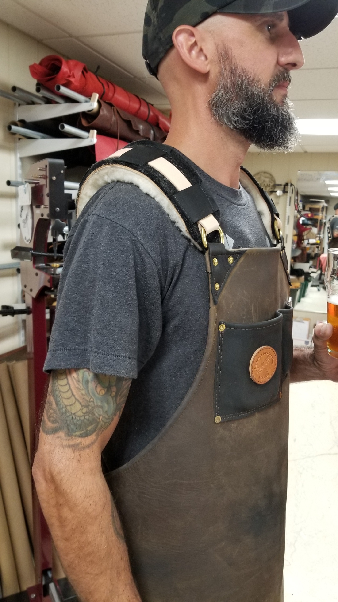 """shop apron - work apron - leather apron - """"Forged in Fire"""" CHAMPION, Tommy Matthews Custom Crooked River Forge.... Forge / Blacksmith Split Leg Leather Apron"""